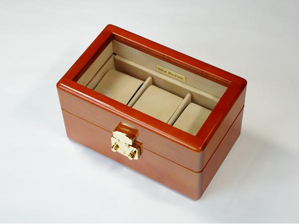 内装布仕上げ メイプル材3本用topガラス イタリア製LOCK 時計ケース