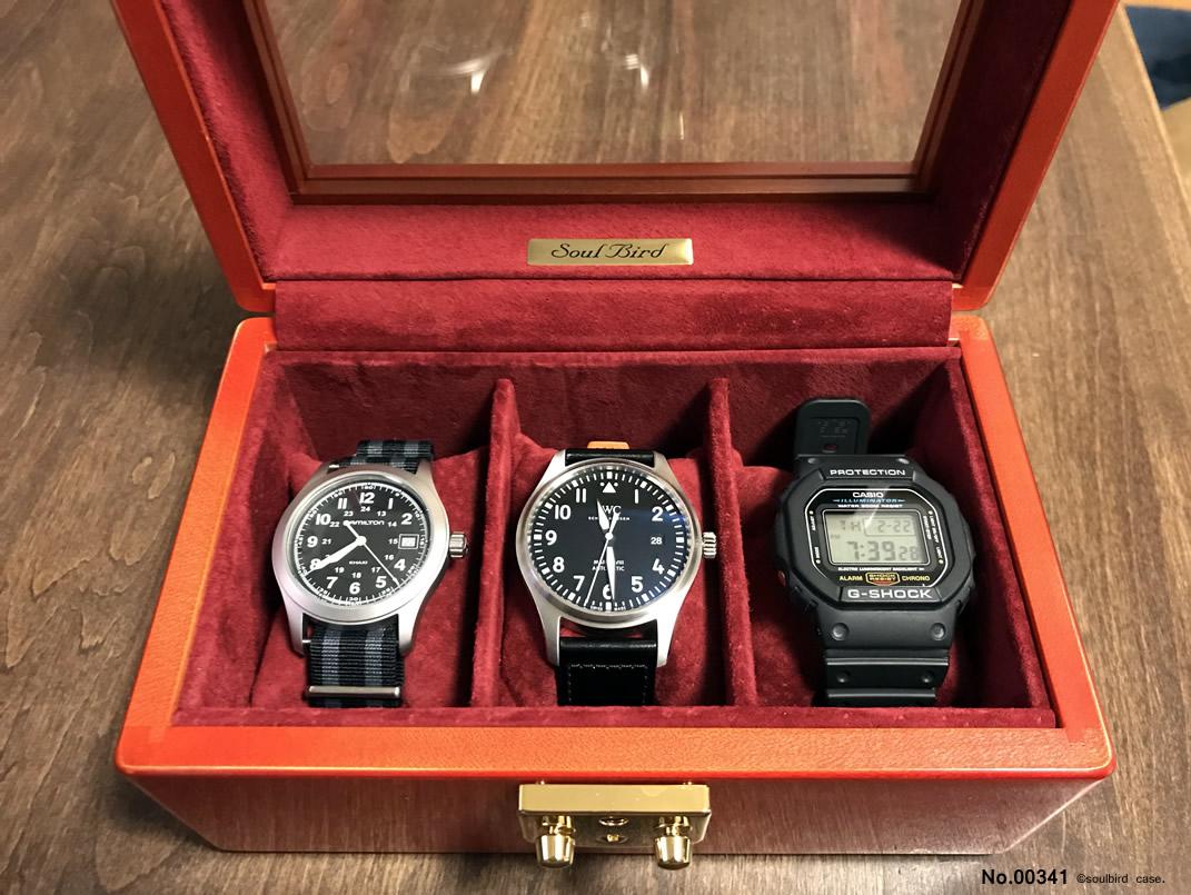 高級時計ケース メイプル材3本用