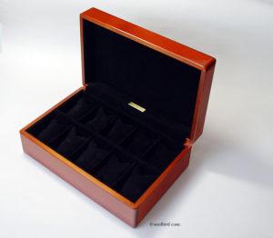 時計ケース 10本用  メイプル材 ピグスエードレザー