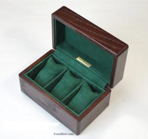 時計ケース 3本用 オーク材 シープスエードレザー