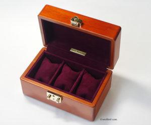 時計ケース 3本用 メイプル材 シープスエードレザー