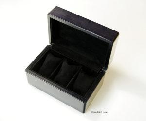 時計ケース 3本用 メイプル材ブラックカラーリング ピグスエードレザー