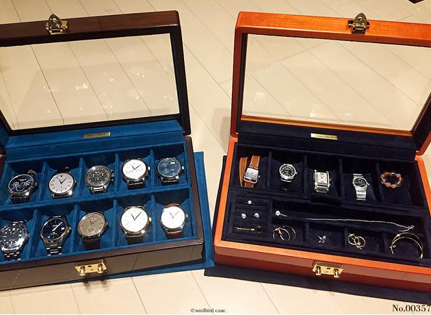 時計ケース。オーク材とメイプル材