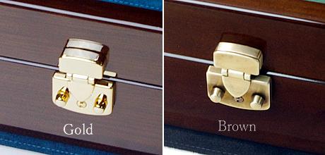 イタリア製LOCK 金色とブラウン オーク材ケース
