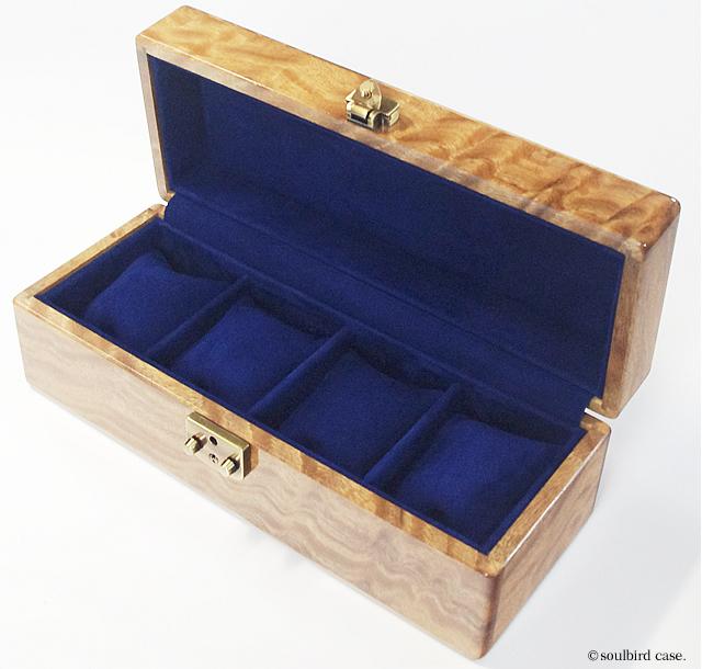モンキーポット5本用 時計ケース 内装レザー放牧ラムスエード ロイヤルブルー