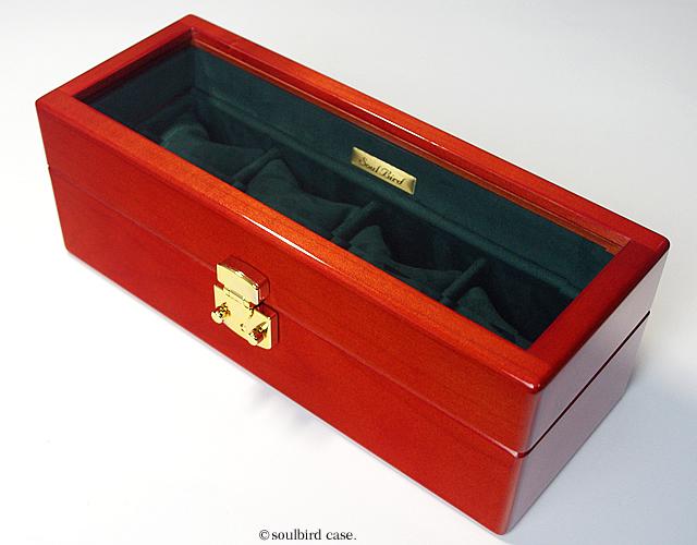 メイプル材5本用topガラス 時計ケース 金色LOCK