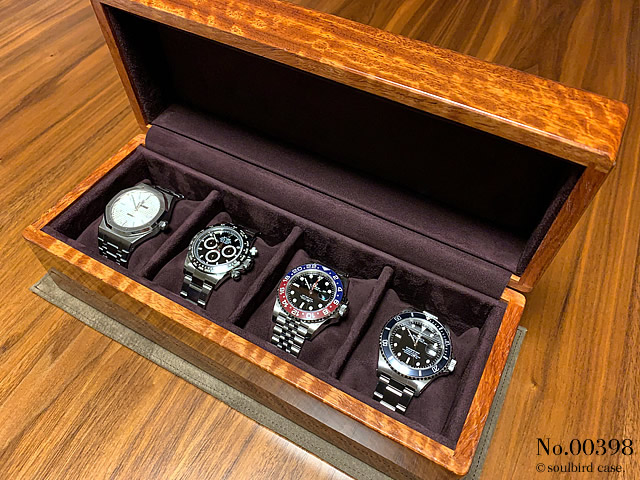 紫檀5本用時計ケース 内装放牧ラムレザースエード ボルドー