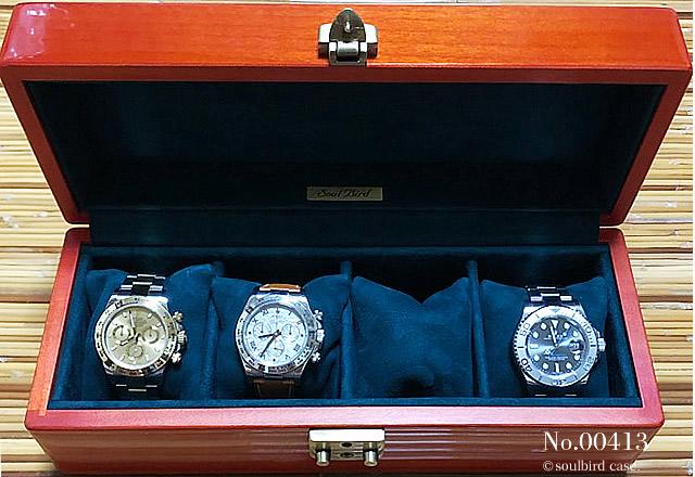 メイプル材5本用時計ケース K68 地中海放牧ラムレザースエードグリーン