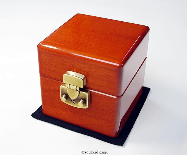 メイプル材時計ケース 1本用 ブラウンLOCK
