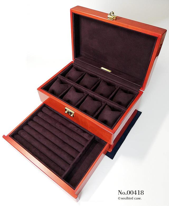 メイプル材引き出し付きケース 内装レザー:地中海放牧ラムレザースエード ボルドー