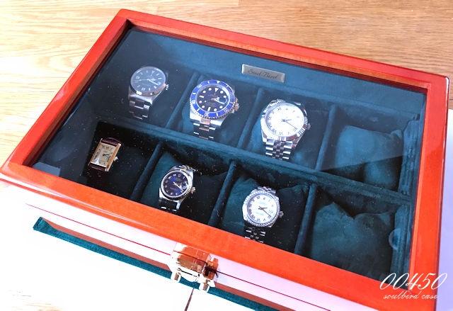 メイプル材時計ケース 内装レザー/放牧ラムレザースエードグリーン