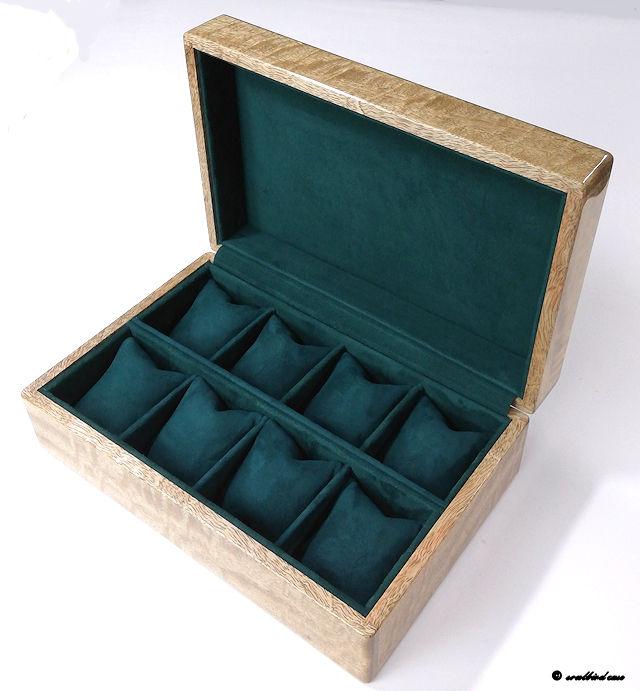 カーリーマンゴ材時計ケース 内装放牧ラムレザーグリーン