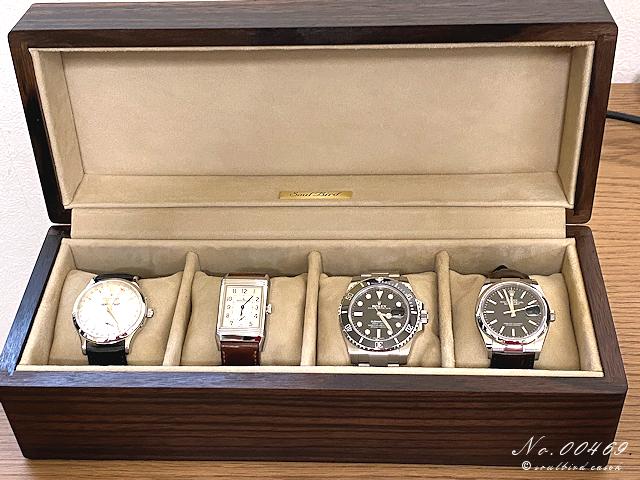 縞黒檀材オイル仕上げの時計ケース