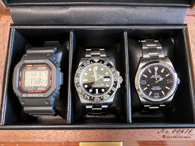 3本用時計ケースにロレックスとGSHOCK