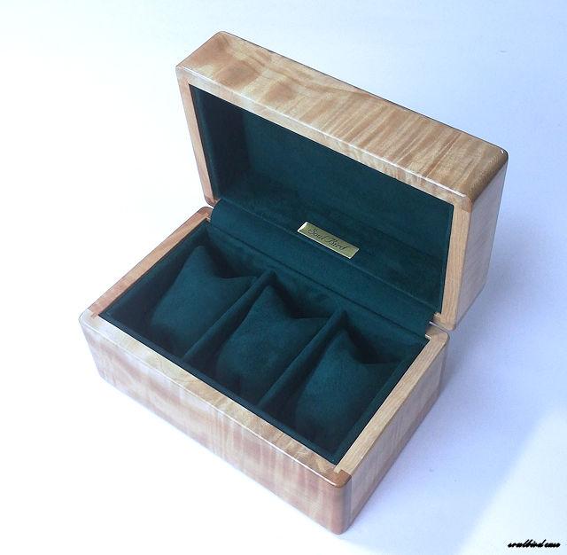 サップトチ3本用時計ケース。内装地中海放牧ラムレザースエードグリーン