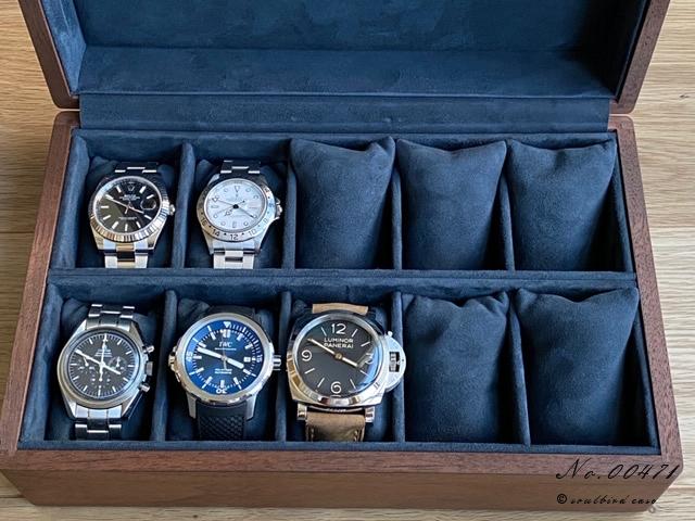 ウオールナット材10本用時計