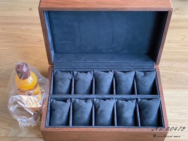 ウォールナット材10本用ケース内装レザー仕上げシープ紺色